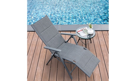 Costway Outdoor Foldable Reclining Padded Chair Aluminum Frame Adjustable