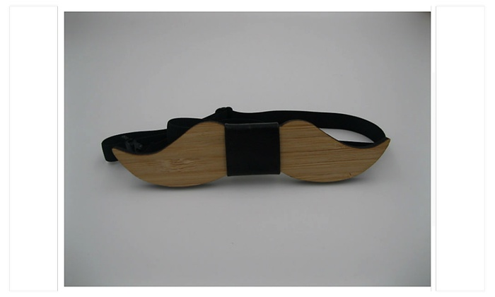 Mustache Wooden Bow Tie Men. - one size