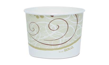 "Solo Cups Single Poly Paper Containers, 16 Oz, Symphony Theme, 4 1/2"" 1c915d54-12a2-4dfe-a7d3-d0acfabff551"