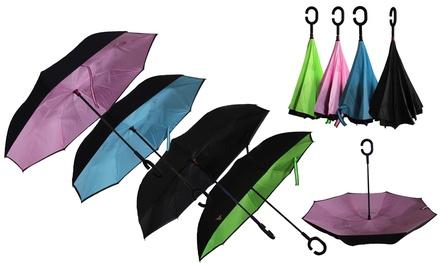 Zummy C-Handle Double-Layer Windproof Reverse Folding Smart Umbrella Was: $59.99 Now: $22.98.