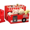 Wood Fire Engine Toy Box with Train Set