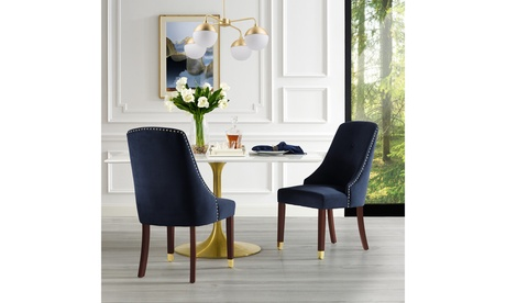 Piers PU Leather/Velvet Nailhead Trim Dining Chair with Metal Tip Leg (Set of 2)