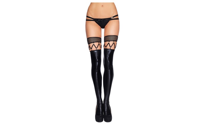 b1b50ef1e89a7d Women Fishnet Top Black Faux Leather Stockings Knee High Sexy Tights - Black  / one size