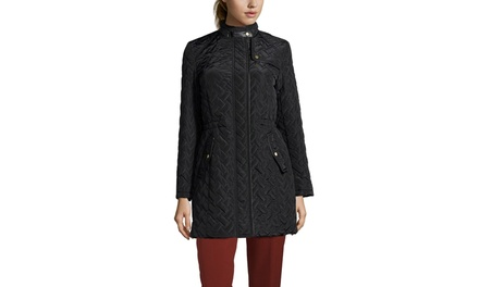COLE HAAN Quilted Jacket with Faux Leather Trim