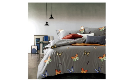 Cotton Butterfly Printed Duvet Cover Set 3 Piece Bedding Set King Gray 291e2f9c-2128-4450-9d26-d9477196204d