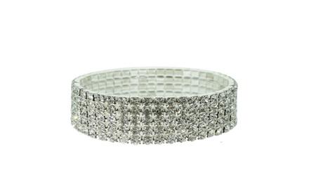 5 Tier Crystal Stretch Bracelet made with Swarovski Elements