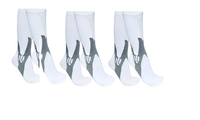 3-Pack Athletic White Compression Socks