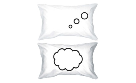His and Hers Pillowcases 300-Thread-Count Standard Size 21 x 30 - Thinking Cloud 100% Egyptian Cotton