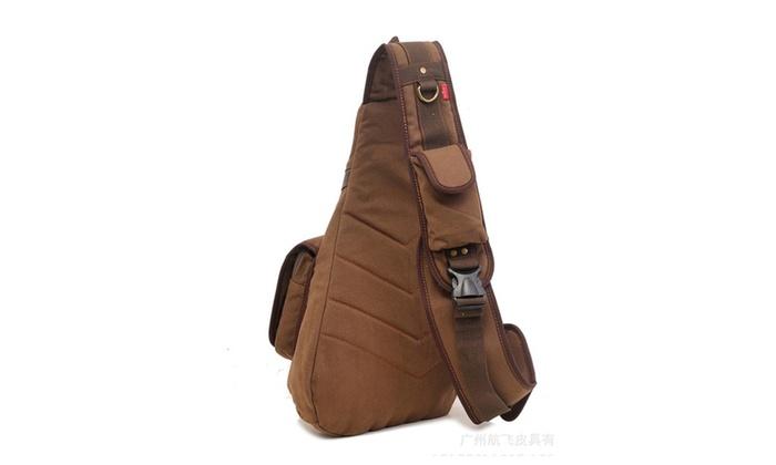 Men's Outdoor Canvas Chest Sling Bag