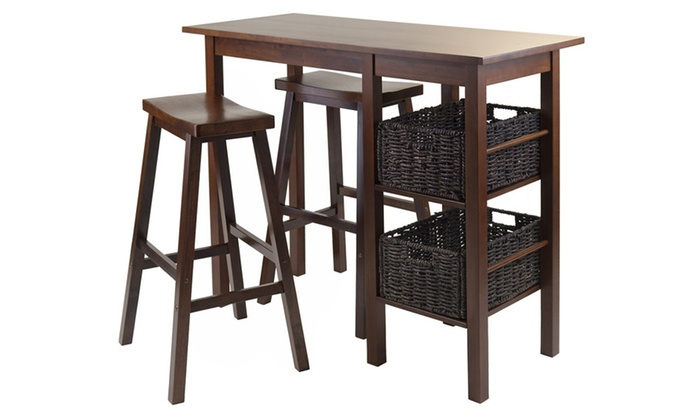 Egan 5pc Breakfast Table With 2 Baskets And 2 Saddle Seat