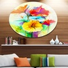 Colorful Gerbera Flower Sketch on White' Large Floral Metal Circle Wall Art