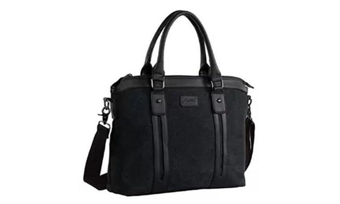 Men's Canvas and Pu Leather Laptop Messenger Handbag Shoulder Bag