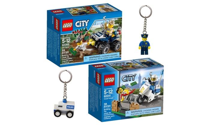 lego city police sets keychains 4 item bundle - Lgo City Police