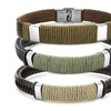 Men's Stainless Steel Brown or Black Leather Wrapped Twine Bracelet