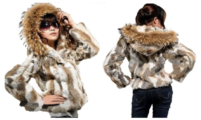 Real Rabbit Women's Fur Jacket Short Fur Coat Outerwear Luxury ...