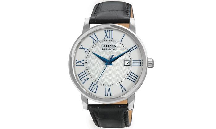 Citizen Men's 'Eco-Drive' Silver-tone Roman Numeral Watch