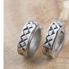Stainless Steel Cross-Hatch Hoop Earrings