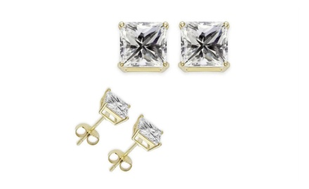 2ct Manmade Princess Diamond Earrings 14K Yellow Gold over Sterling Silver