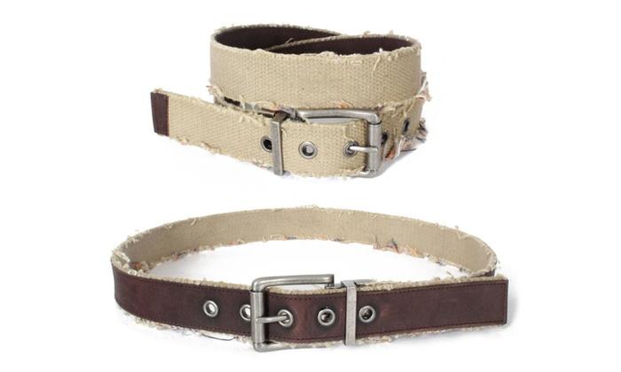 9391V-BRN - Men's Frayed Khaki Cotton Webbing Brown Reversible Belt
