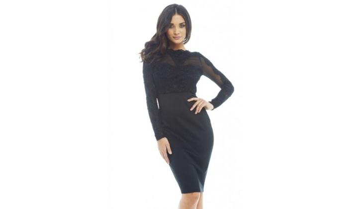 AX Paris Emborded Mesh Contrast  Dress