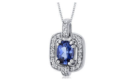 Blue Sapphire Pendant Necklace Sterling Silver Oval 1 Carats SP10034