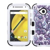 Insten Tuff Flowers Hard Hybrid Silicone Case For Moto E2 Purple White