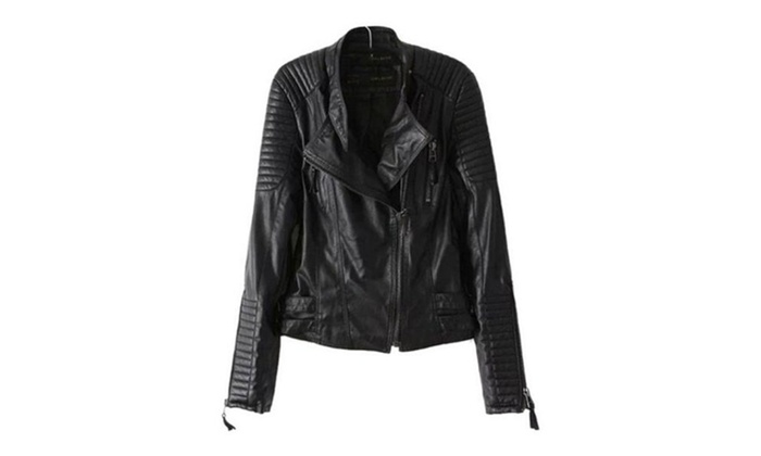 Women's Fashion Zip Up Faux Leather Casual Moto Jacket
