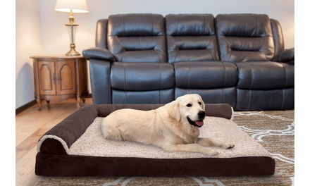 Two-Tone Faux Fur Pet Chaise Lounge Orthopedic and Memory Foam Dog Bed