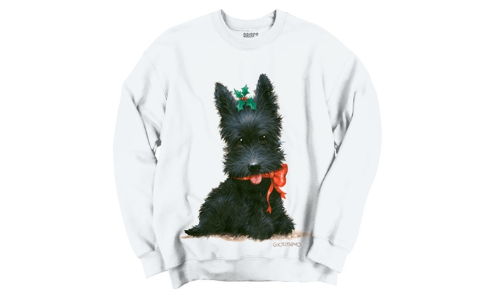 Christmas Scottish Terrier Puppy Holly Crewneck Sweatshirt