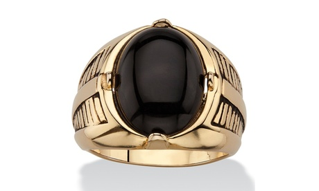 Men's Oval Genuine Onyx Etched Cabochon Ring 14k Gold-Plated ff346831-3029-4818-9f4e-74133bdd36e9