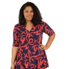 24/7 Comfort Apparel Women's Plus Size Abstract Red&Navy Tunic