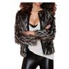 Women's Fashion Round Neck Zip Up Faux Peacock Fur Coat