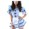 Women's Short Sleeve Ruffles Pleated Bubble Skirt Unifom Set