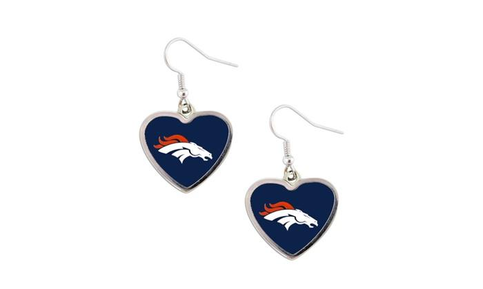 NFL Denver Broncos Heart Shape Dangle Logo Earring Set Charm Gift