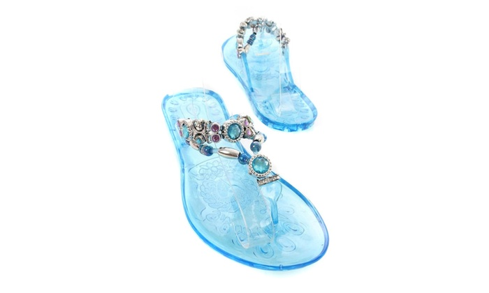 Crystal-1 Clear Rhinestone Decor Thong Slip On Sandals