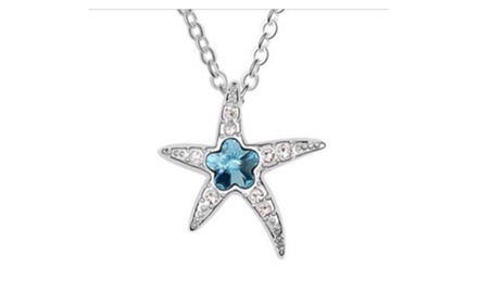 Swarovski Elements Aqua Starfish Necklace