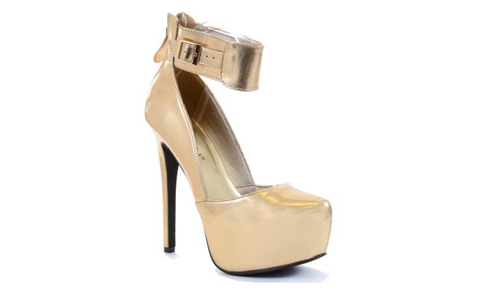 Metallic Gold Platform Ankle Stiletto Heel Pump