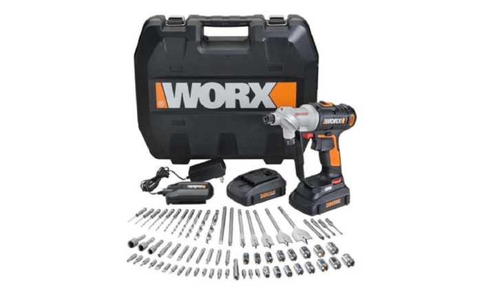 wx176l 1 worx 67 pc 20v lithium switchdriver cordless drill driver groupon. Black Bedroom Furniture Sets. Home Design Ideas
