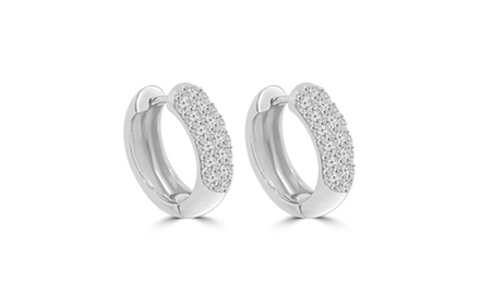 1.00 ct Round Cut Diamond Huggie Earrings In 14 kt White Gold