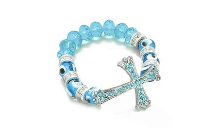 Amulet Evil Eye Cross Charm Bracelet Cute Sky Blue Glass Crystal Beads b2e4f49d-9050-47c3-9c43-b2205b54db01