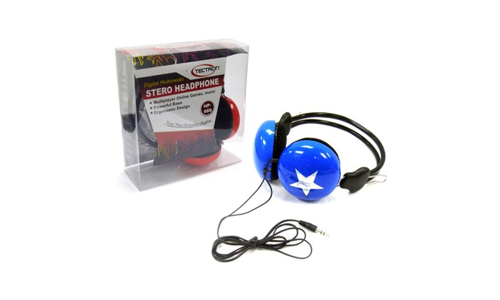 Buy It Now : Stereo Headphones, Round Cup and Star Design, Assorted Colors