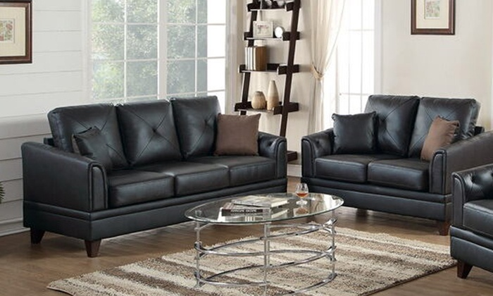 SIMPLE RELAX 2-Pcs Genuine Leather Sofa Set with 4 accent Pillows