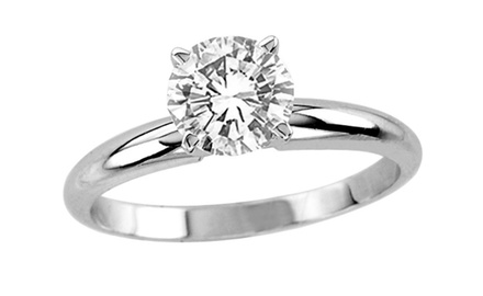 1.0 ct Round Cut Diamond Ring Set On 14K White Gold