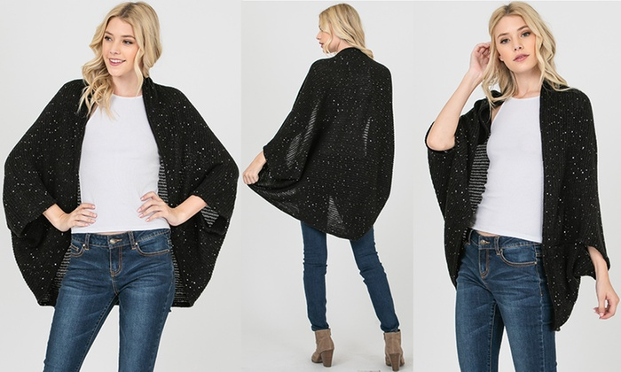 4a80b36f62823a Women's One Size Open Sweater Sequin Cardigan | Groupon