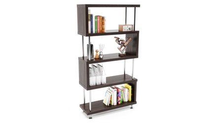 4-Tier Wooden Z Shaped Etagere Bookshelf Stand
