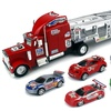Speed Blitzer Trailer Friction Toy Truck RTR w/ 5 Cars (Colors May Vary)