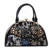 Deco cut-out Jeweled Cluster Crossbody Satchel Handbag Vegan Purse