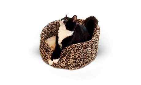 "K Pet Products Lazy Cup Cat Bed Leopard 16"" x 16"" x 7"" 48cc448f-c348-406f-a41b-2c6d0b7a300c"