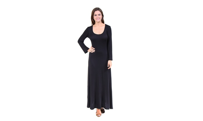 24/7 Comfort Apparel Women's Long Sleeve Scoop Neck Maxi