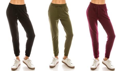 Women's Juniors Fleece Lined French Terry Jogger Pants Lounge Sweat Pants